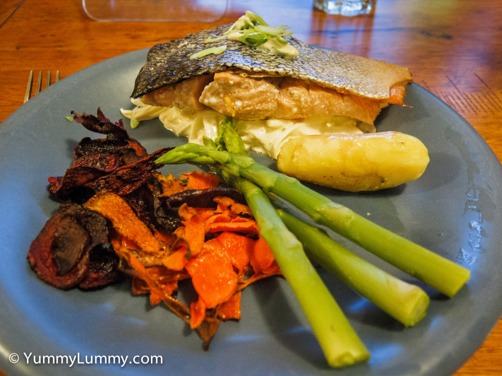 Bron made #dinner. She cooked Confit salmon with celeriac remoulade. It was delicious.
