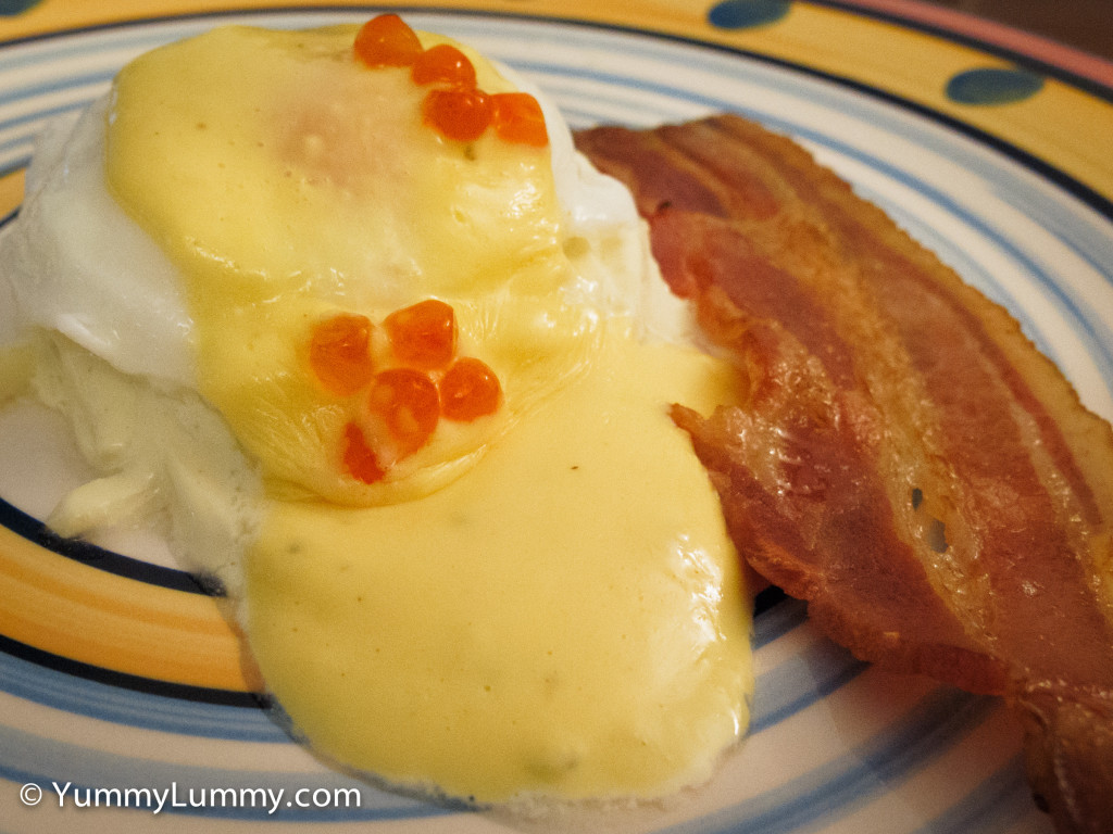 Bron made #breakfast. She made Poached egg with Hollandaise sauce on celeriac remoulade and a serve of bacon. It was delicious.