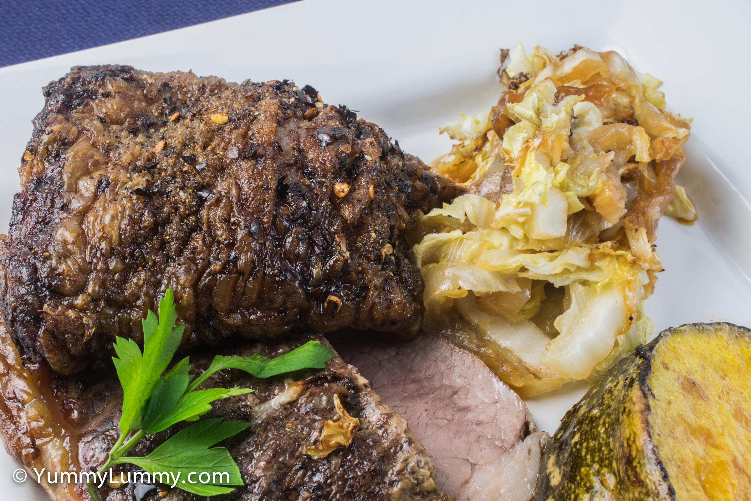 A photograph of roast sirloin beef
