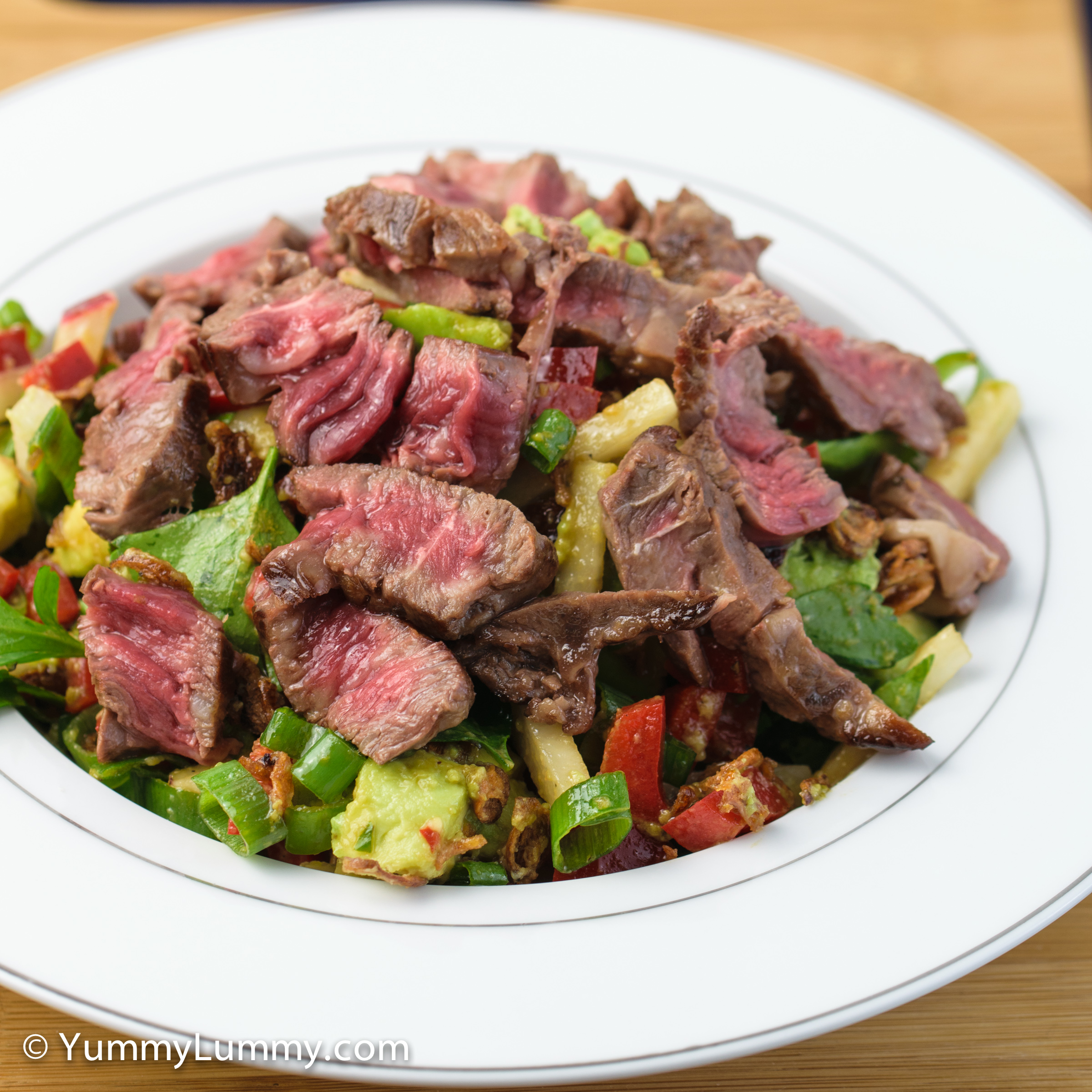 A photograph of my rare steak salad for dinner