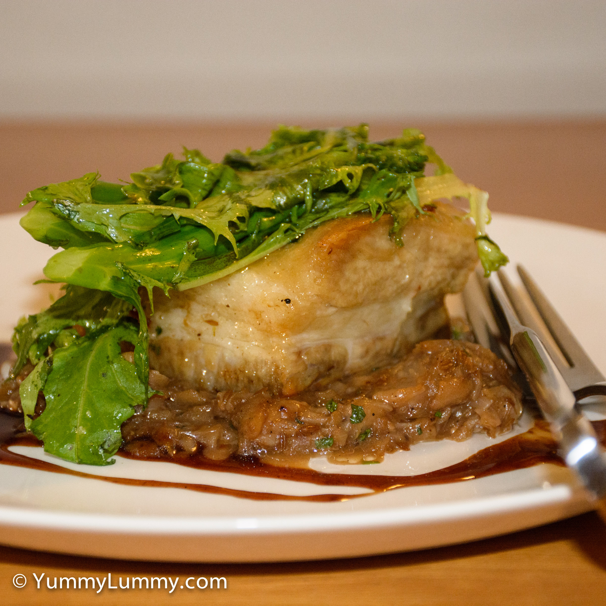 A photograph of my dinner tonight. Pork belly with cabbage and apple ragout