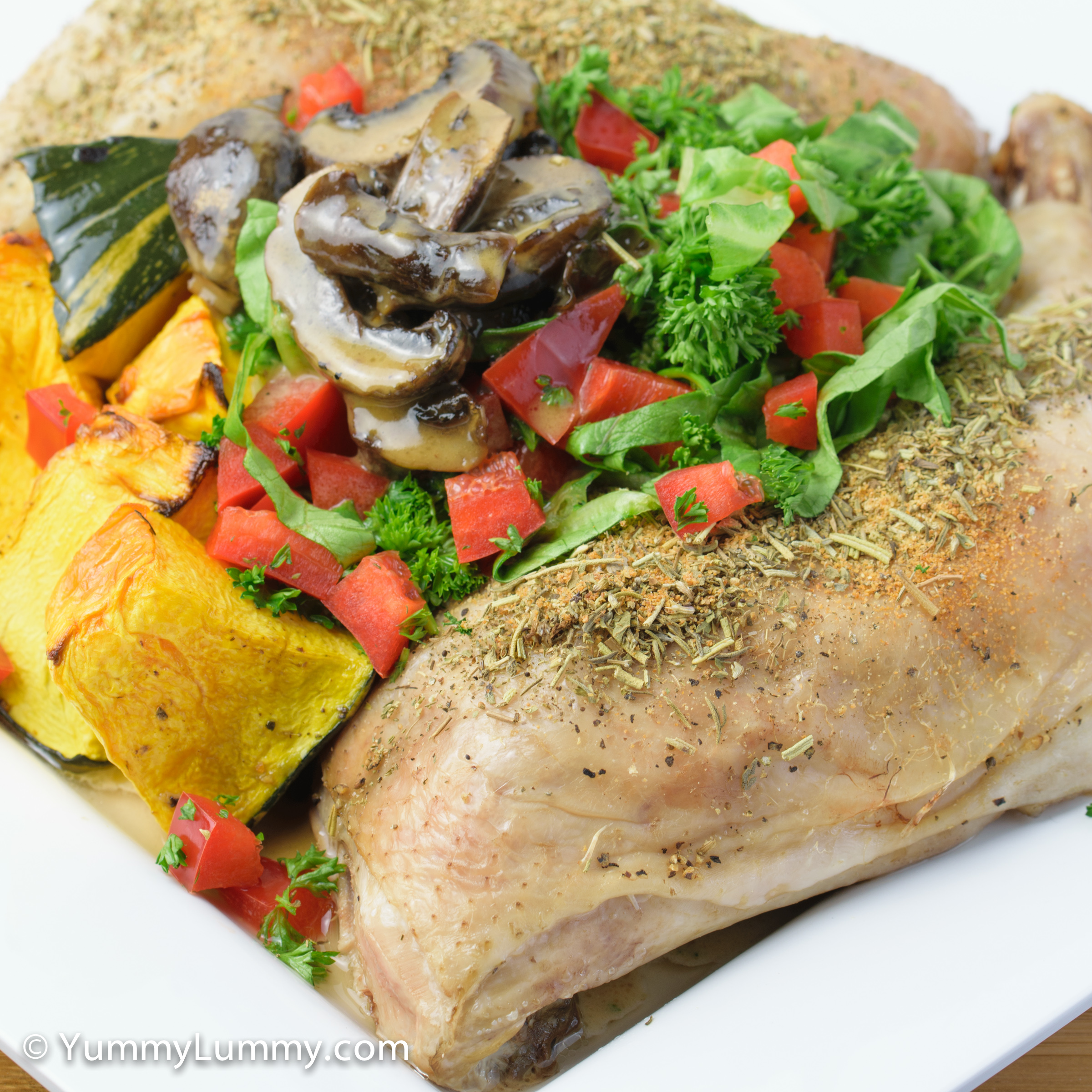 Roast Chicken Maryland with pumpkin and mushrooms for dinner