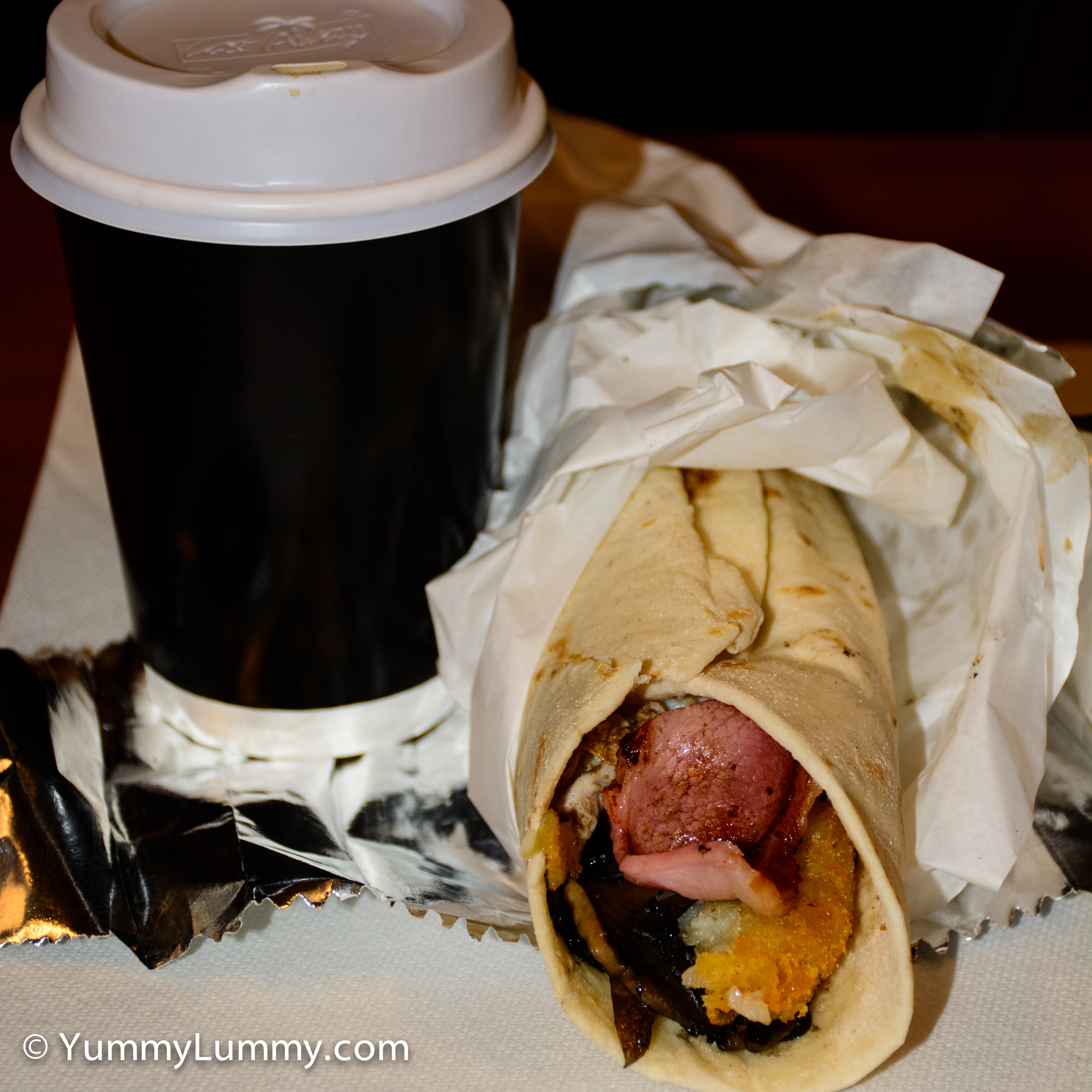 Happy hump day. Takeaway Mavi breakfast wrap and a regular flat white coffee.