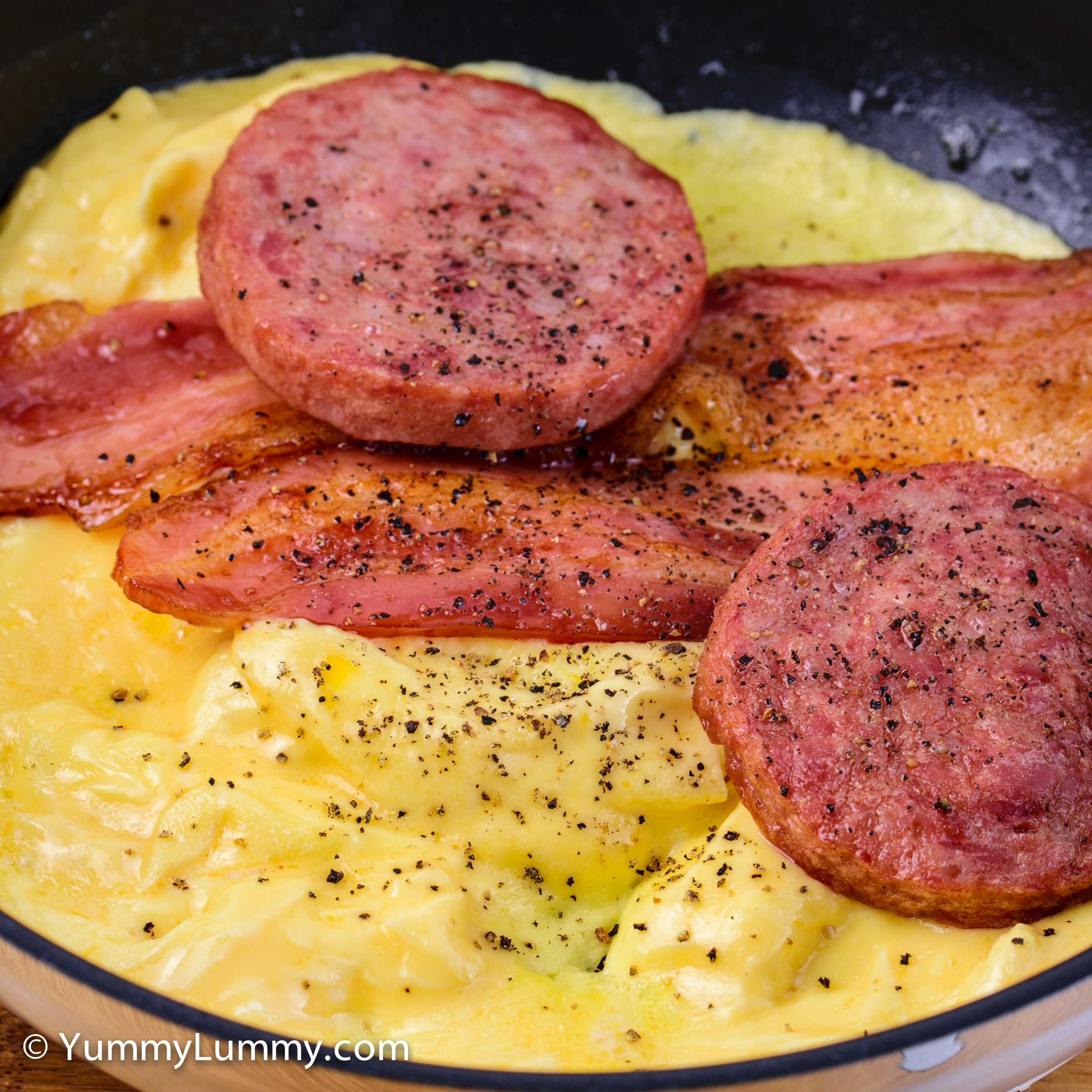 Happy hump day Canberra. Scrambled eggs with bacon and Strasburg sausage for breakfast.