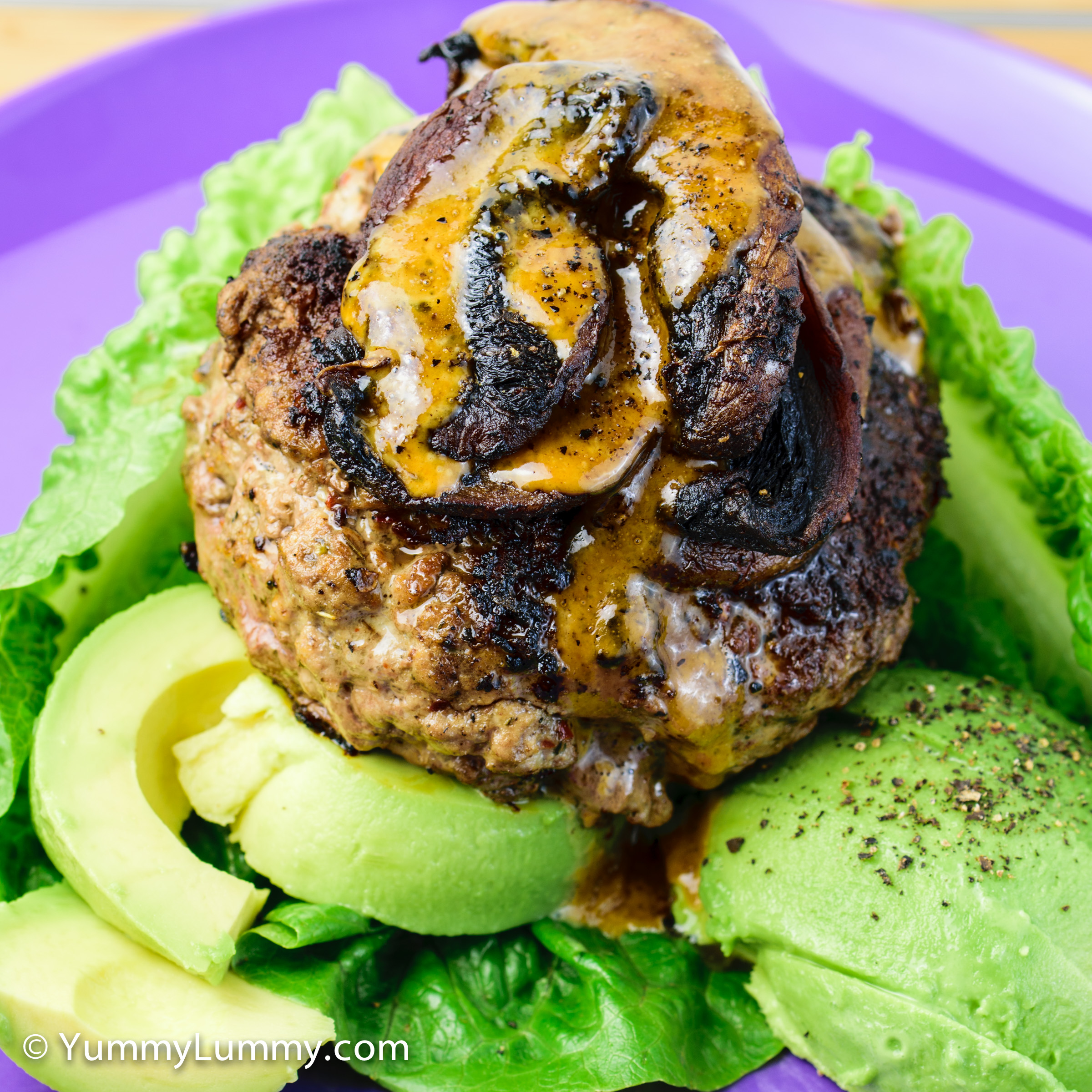 Happy hump day dinner. Nude burger with avocado and mushrooms.
