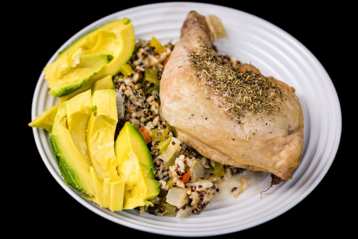 Baked Chicken Maryland, quinoa rice and avocado with capsicums, onion and cheese