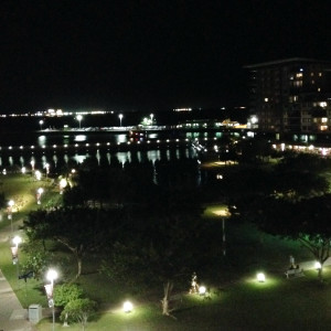 Darwin wharf precinct at night