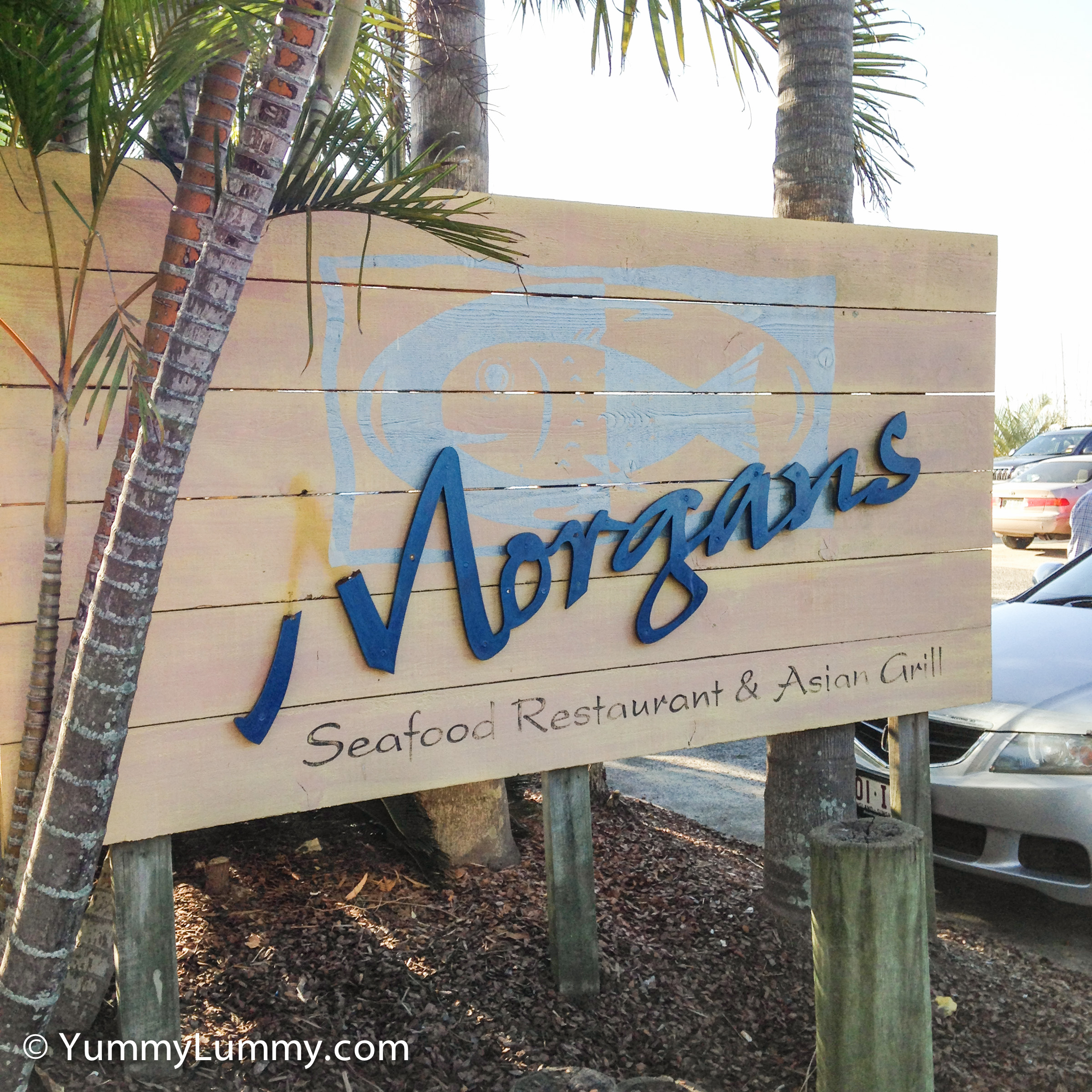 A photograph of the sign outside for Morgans Seafood Restaurant