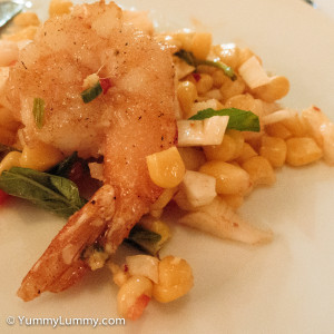 Chairman and Yip Pan seared king prawn salad of basil, mint and sweet corn