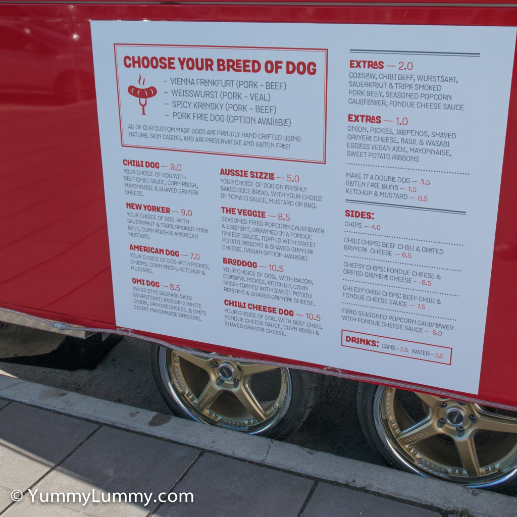 BrodDogs food truck menu