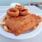 Barramundi, calamari rings, and chips