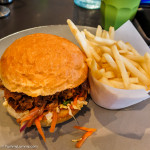 Pulled pork sandwich and potato chips