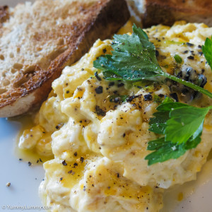 Scrambled eggs with truffles at Silo Bakery, Kingston