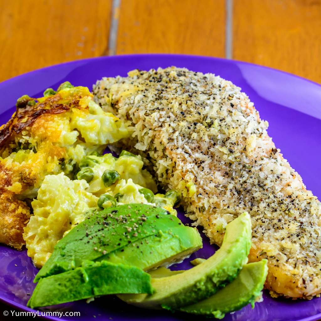 Monday dinner. Panko crumbed salmon, cauliflower cheese and avocado.