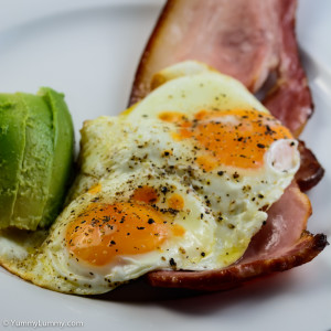 Sunday breakfast. Andy's Spence Butchery bacon with eggs and avocado.