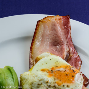 Andy's Spence Butchery bacon with eggs and avocado