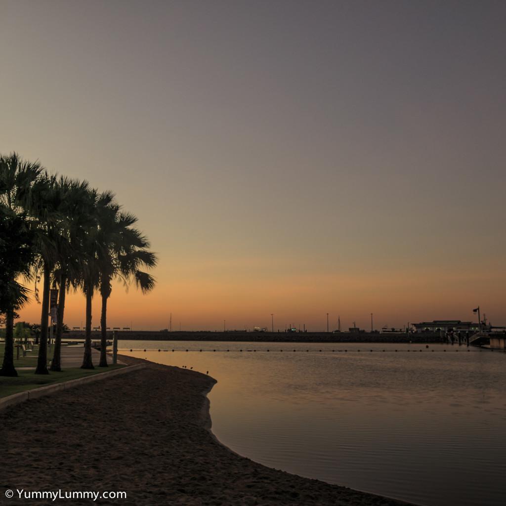 Sunrise over Darwin waterfront lagoon