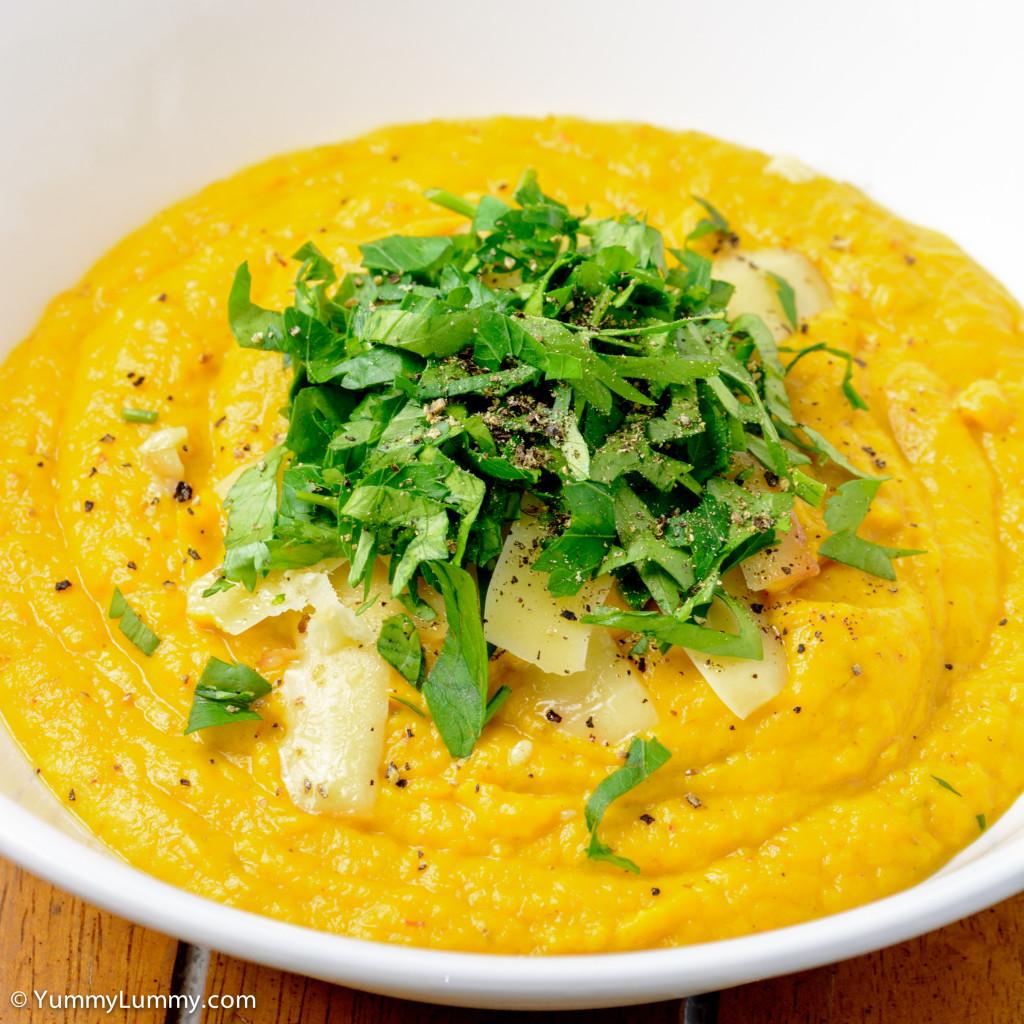 Sunday night dinner. Pumpkin and celeriac soup.