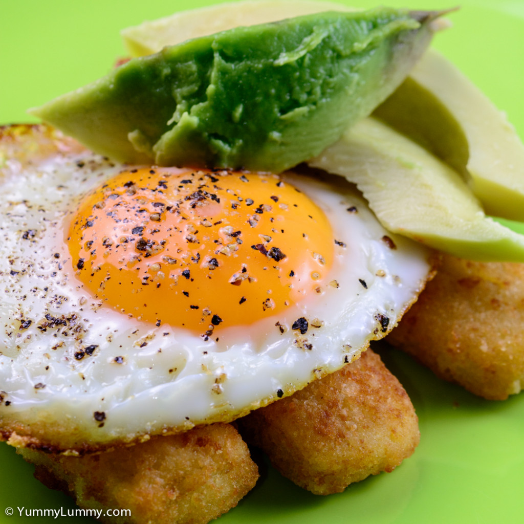 This was my Tuesday breakfast. Fish fingers with egg and avocado.