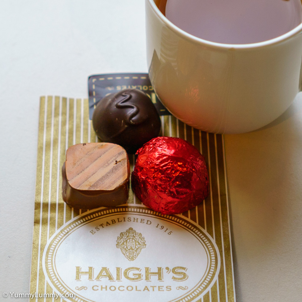 Haigh's Chocolate from Haigh's Chocolates on Collins Street with a cup of tea