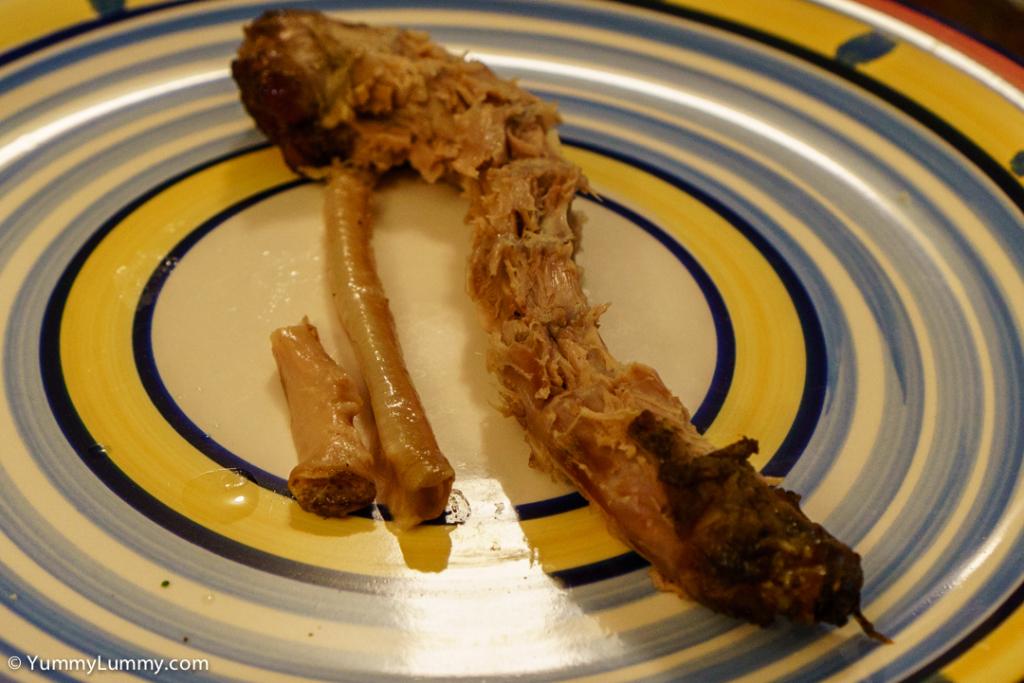 Roast duck neck dissected trachea and œsophagus for dinner