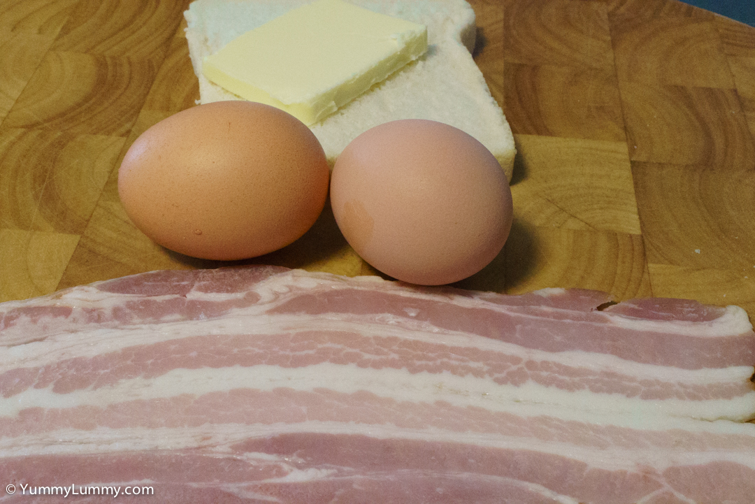 Streaky bacon, eggs, butter and bread