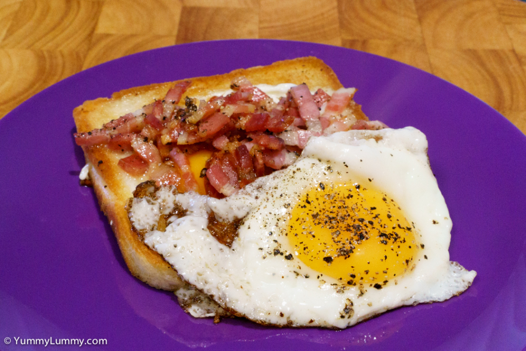 bacon eggs butter and bread oven baked bacon and pepper