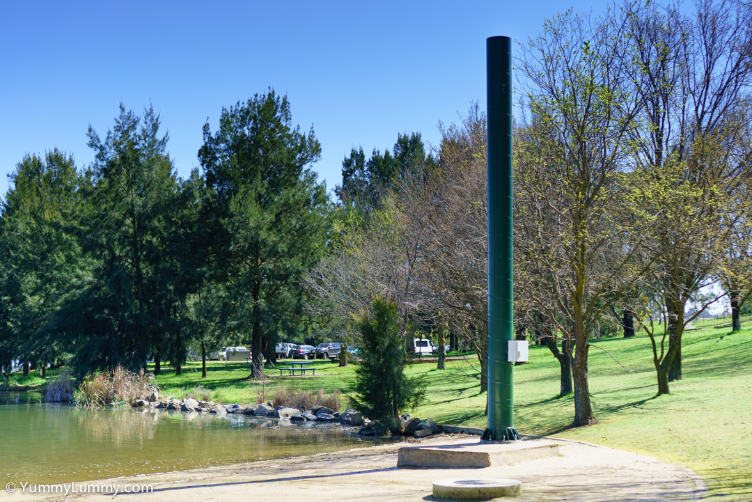 What is that pole for on the beach on Lake Ginninderra