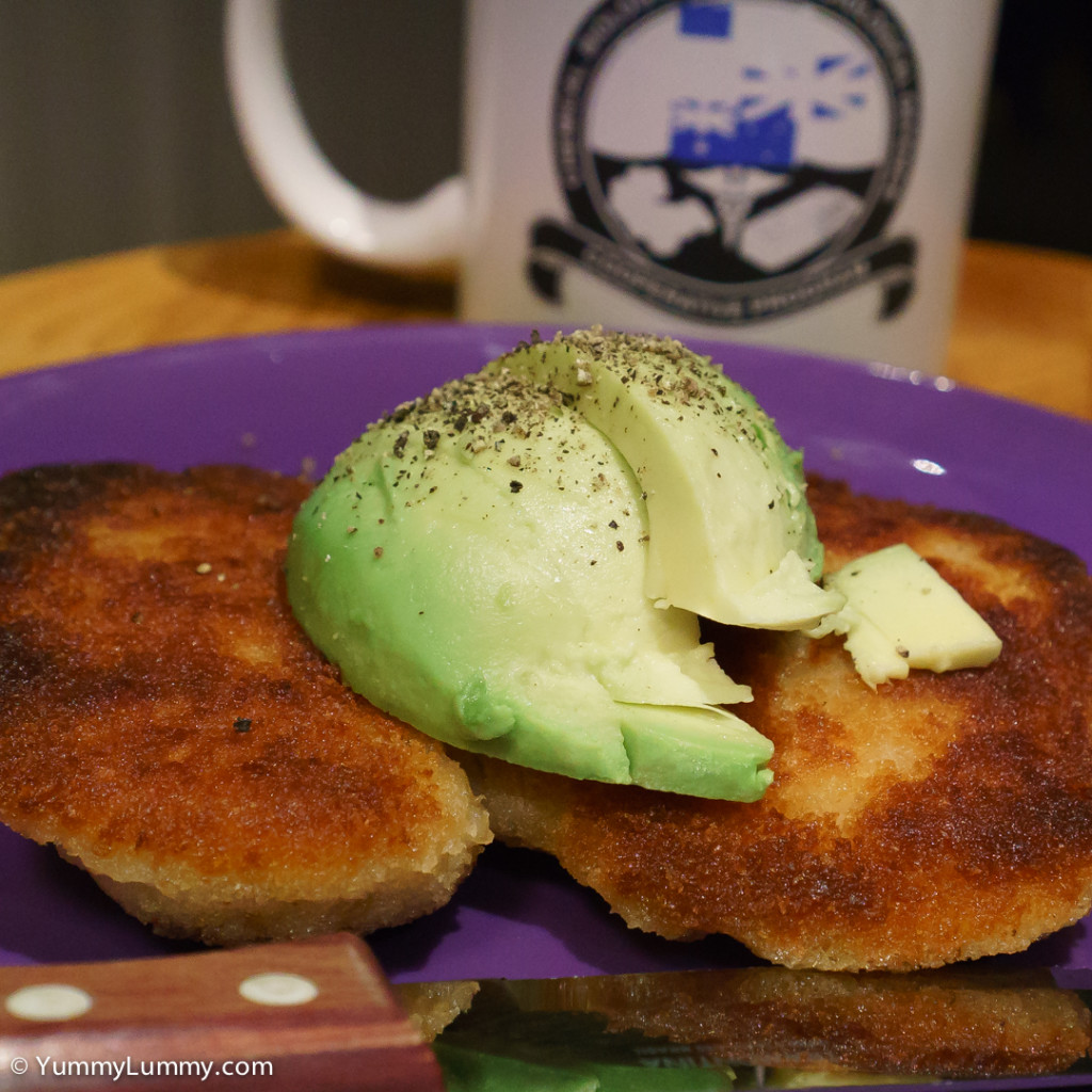 Tuesday breakfast. Chicken schnitzel and avocado.