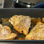 Cooked chicken thighs straight out of the oven | SONY ILCE-7S with E 35mm F1.8 OSS at 35mm and f/2.8, 1/80sec, ISO 1600