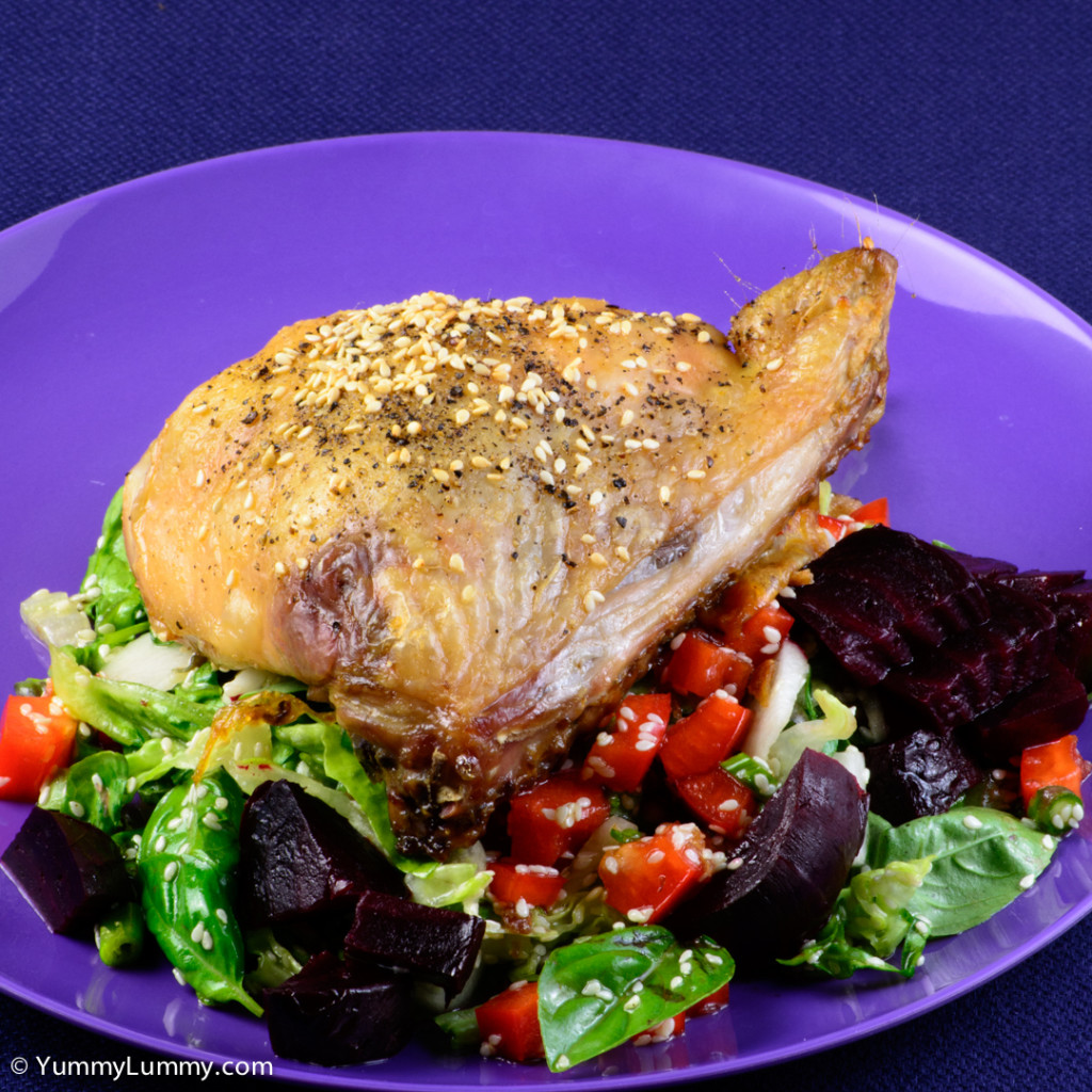 Tuesday dinner. Roast chicken thigh and salad | NIKON D7100 with 55.0-200.0 mm f/4.0-5.6 at 110mm and f/22, 1/6sec, ISO 400
