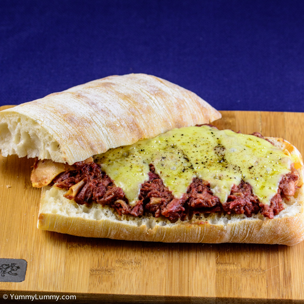 Corned beef and tasty Coon cheese on a ciabatta loaf  NIKON D7100 with 90.0 mm f/2.8 at 90mm and f/5.6, 1/200sec, ISO 400