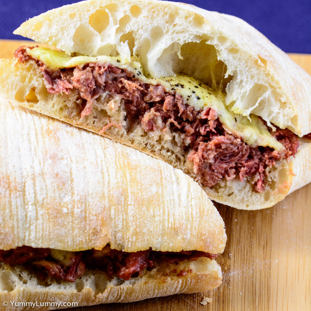 Corned beef and tasty Coon cheese on a ciabatta loaf  NIKON D7100 with 90.0 mm f/2.8 at 90mm and f/5.6, 1/80sec, ISO 400