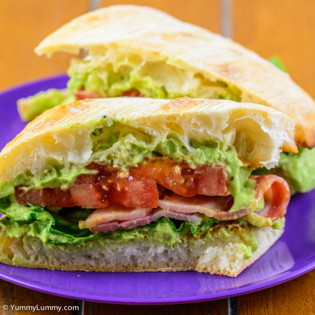 Saturday BLAT for lunch. Bacon lettuce avocado and tomato sandwich. Close up after cutting in half. NIKON D7100 with 90.0 mm f/2.8 at 90mm and f/3.2, 1/320sec, ISO 400