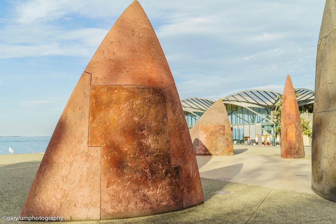 Public art Corio Wharf Geelong. It looks like a shark tooth. SONY ILCE-7S with FE 24-70mm F4 ZA OSS at 35mm and f/4, 1/800sec, ISO 100