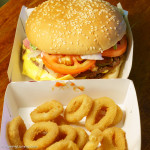 Hungry Jacks Whopper and onion rings