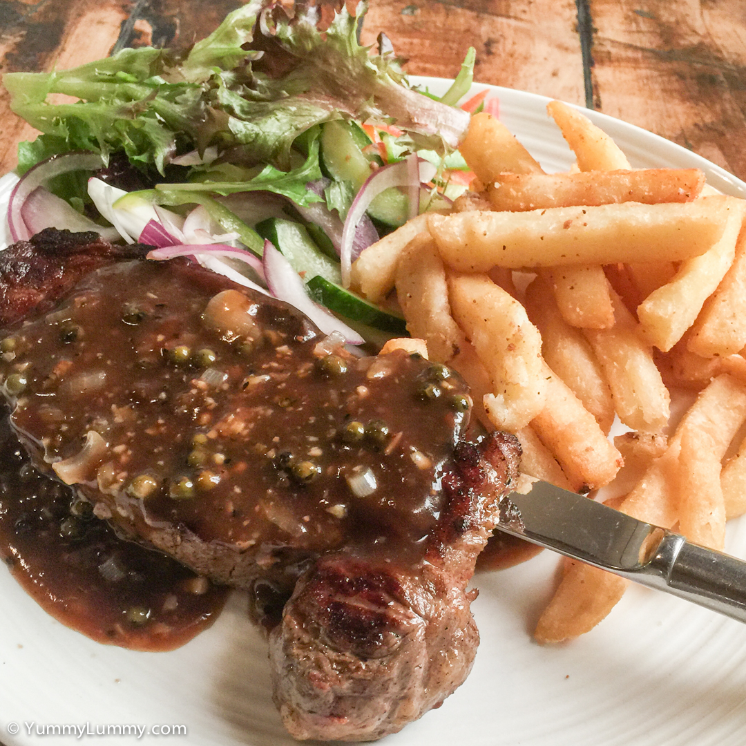Sirloin steak with garden salad and chips Apple iPhone 6 with iPhone 6 Plus back camera 4.15mm f/2.2 at 4mm and f/2.2, 1/15sec, ISO 50