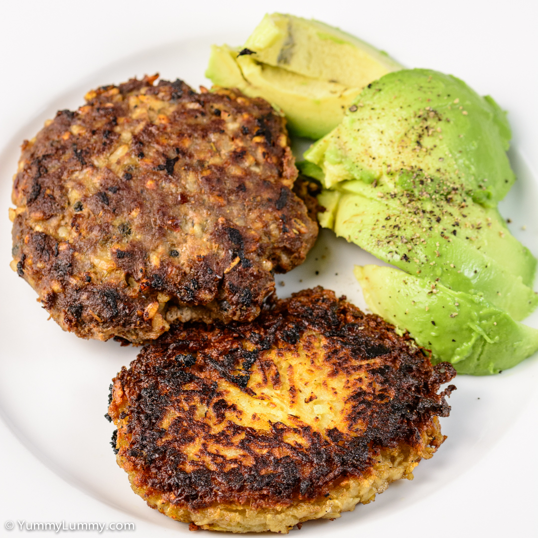Home made hash brown and beef burger with avocado NIKON D7100 with 90.0 mm f/2.8 at 90mm and f/5.6, 1/125sec, ISO 400