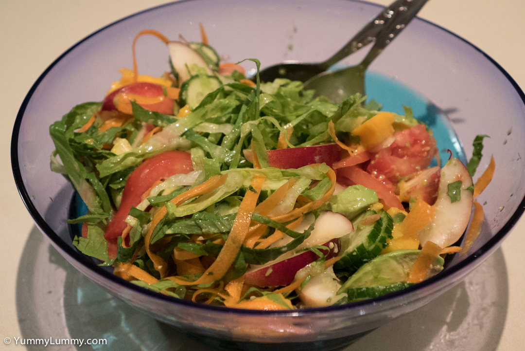 This salad had carrot, cos lettuce, Lebanese cucumber, tomatoes, mangos, avocados, and nectarines SONY ILCE-7S with E 35mm F1.8 OSS at 35mm and f/4, 1/250sec, ISO 6400