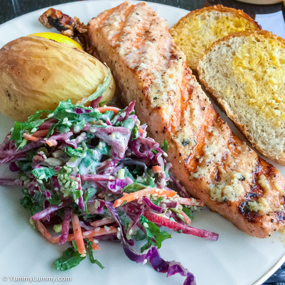 Salmon with kale slaw, baked potato and garlic bread Apple iPhone 6 Plus with iPhone 6 Plus back camera 4.15mm f/2.2 at 4mm and f/2.2, 1/15sec, ISO 125