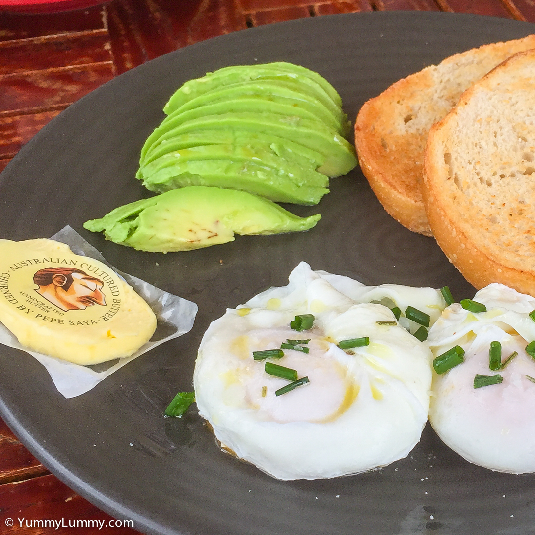 Poached eggs with sourdough bread, butter and avocado Apple iPhone 6 Plus with iPhone 6 Plus back camera 4.15mm f/2.2 at 4mm and f/2.2, 1/340sec, ISO 32