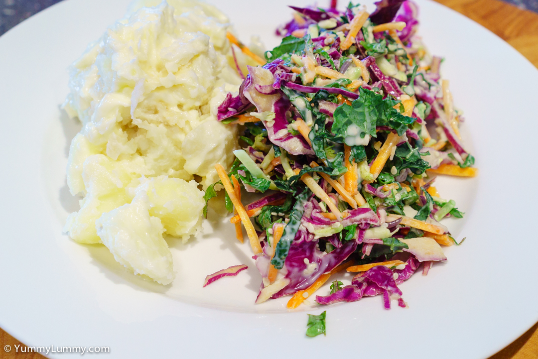 Smashed potatoes and Kale Coleslaw SONY ILCE-7S with E 35mm F1.8 OSS at 35mm and f/5.6, 1/60sec, ISO 1250