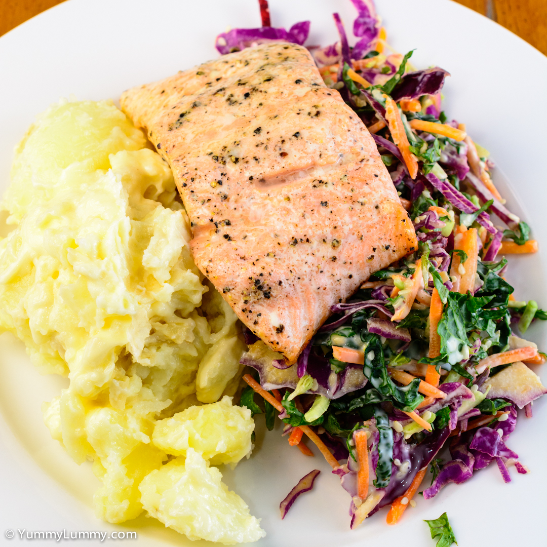 Salmon, smashed potatoes and Kale Coleslaw NIKON D7100 with 40.0 mm f/2.8 at 40mm and f/8, 1/160sec, ISO 400