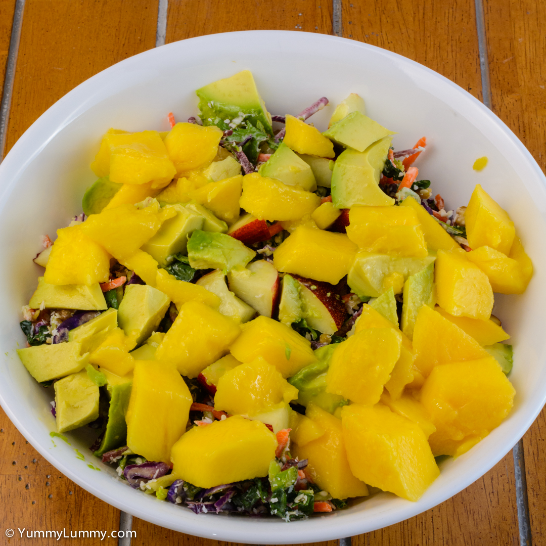 Kale coleslaw with mango, nectarine and avocado NIKON D7100 with 40.0 mm f/2.8 at 40mm and f/16, 1/40sec, ISO 400