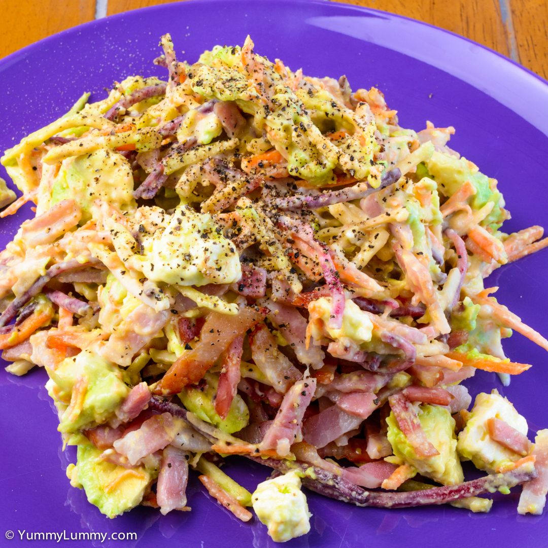 Bacon salad with feta cheese and avocado NIKON D7100 with 40.0 mm f/2.8 at 40mm and f/16, 1/20sec, ISO 400