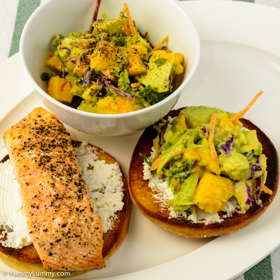 Baked salmon, kale coleslaw, mango, avocado and Persian feta on a hamburger bun NIKON D7100 with 40.0 mm f/2.8 at 40mm and f/8, 1/160sec, ISO 400