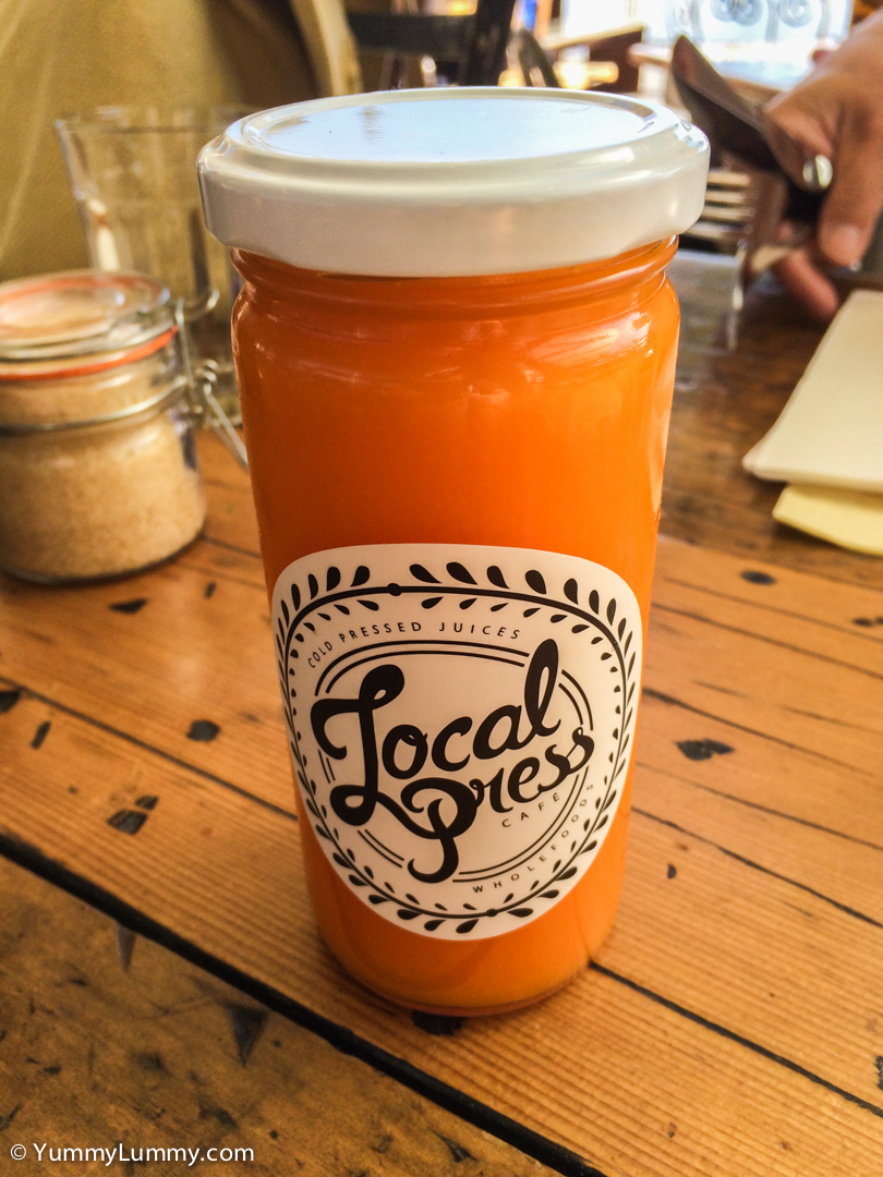 Orange, carrot and turmeric root juice at Local Press on the Kingstone Foreshore