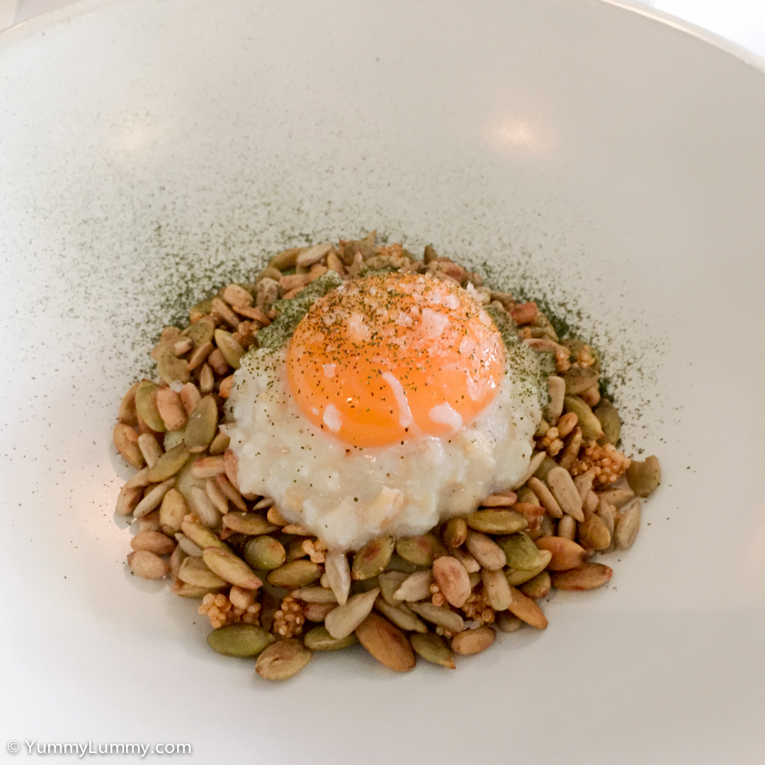 Perfectly cooked 63 °C egg. Slow Cooked Hen's Egg, Pearl Barley Porridge, Cavalo Nero, Celery Cress.