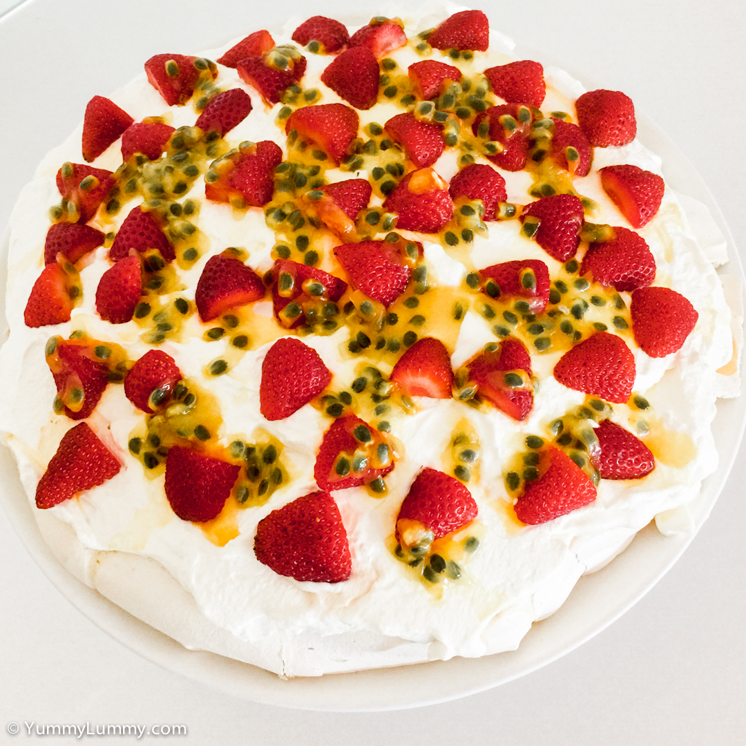 Pavlova with strawberries and passionfruit Apple iPhone 6 Plus with iPhone 6 Plus back camera 4.15mm f/2.2 at 4mm and f/2.2, 1/15sec, ISO 100