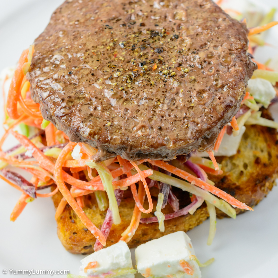 Angus beef burger with beetroot coleslaw and Danish feta on fried toast NIKON D7100 with 40.0 mm f/2.8 at 40mm and f/5.6, 1/100sec, ISO 400